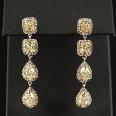 18K 4.95 CTW Diamond Halo Dangle Earrings