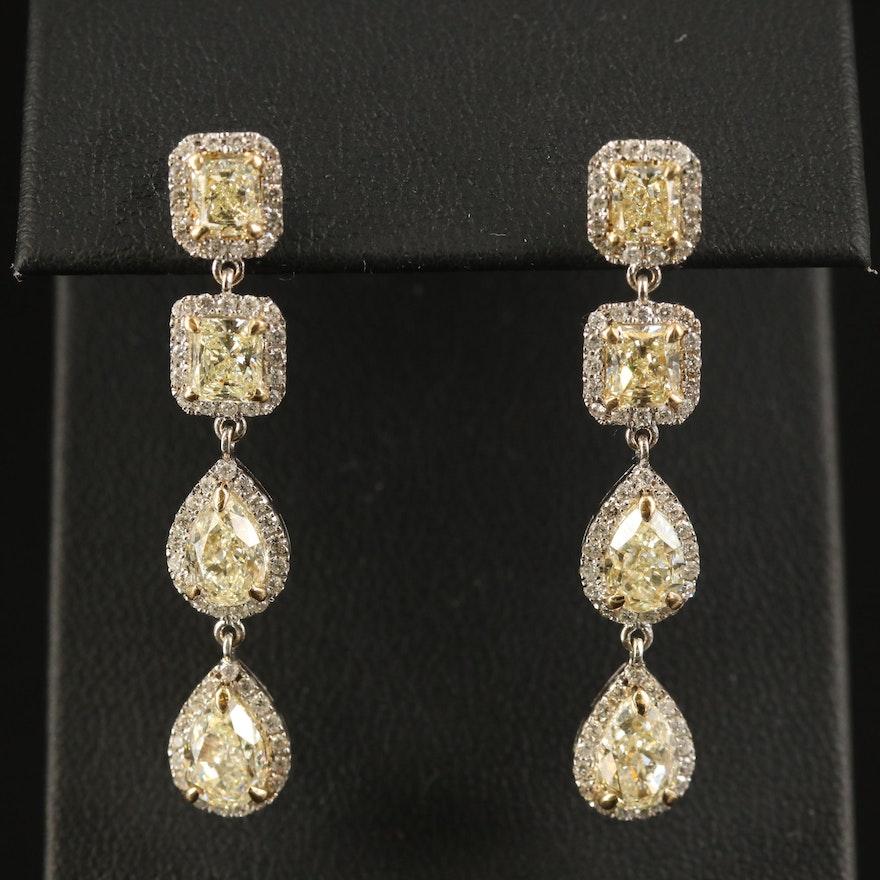 18K 4.95 CTW Diamond Halo Dangle Earrings
