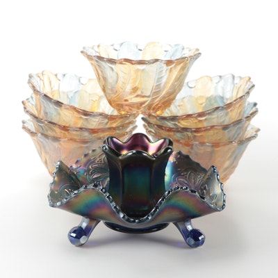 "Fenton Amethyst ""Water Lily"" Carnival Glass Dish, and Other Iridescent Glassware"
