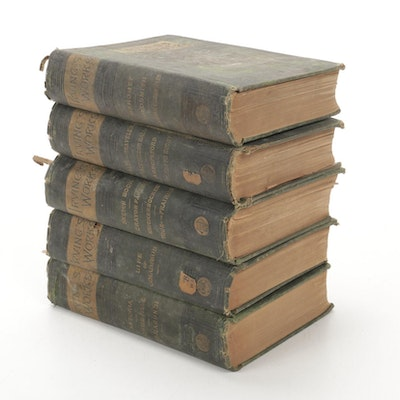 """Irving's Works"" Rip Van Winkle Edition Five-Volume Set, Late 19th Century"