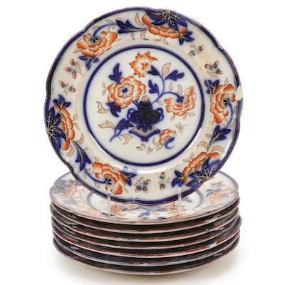 English Imari Style Peony Ironstone Dinner Plates, Mid-19th Century