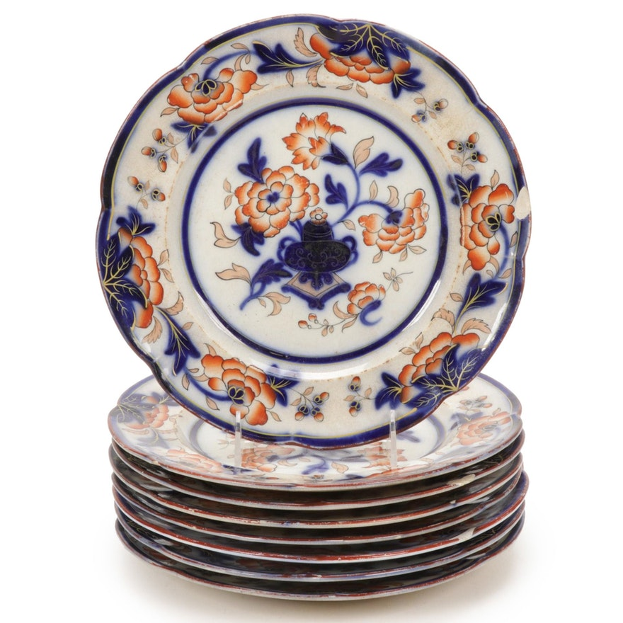English Imari Style Peony Ironstone Dinner Plates, Mid-19th Century