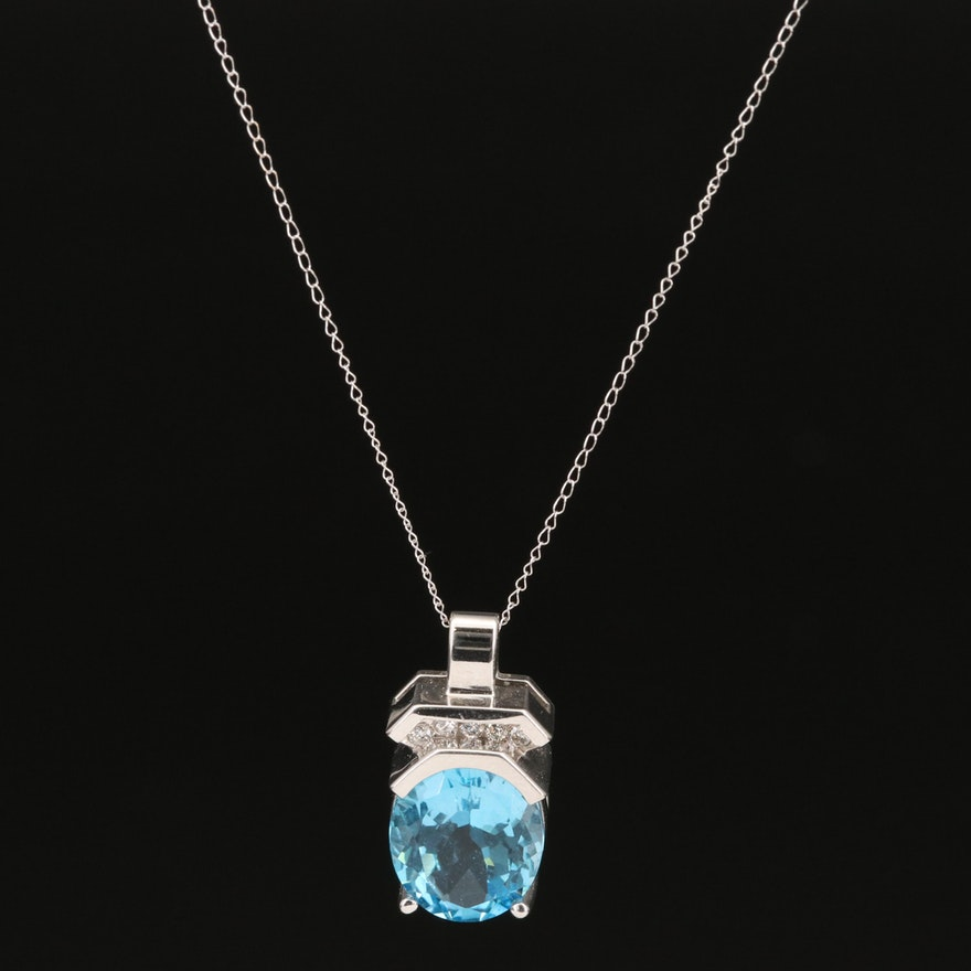 14K Topaz and Diamond Pendant on 10K Chain