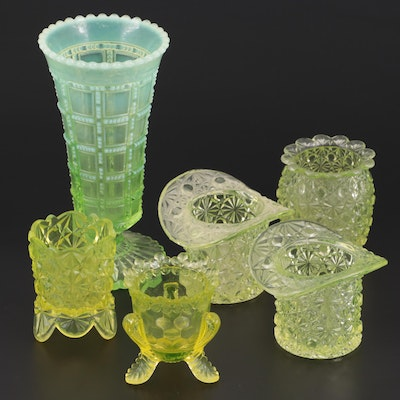Imperial Glass Beaded and Block Vase and Other Vaseline Glass Tableware