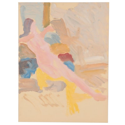 Walter Stomps Watercolor Painting of Seated Nude