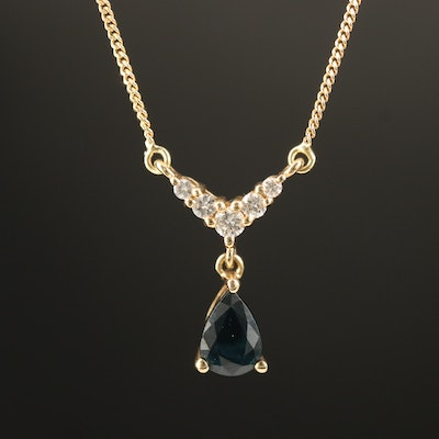 14K Sapphire and Diamond Stationary Pendant Necklace