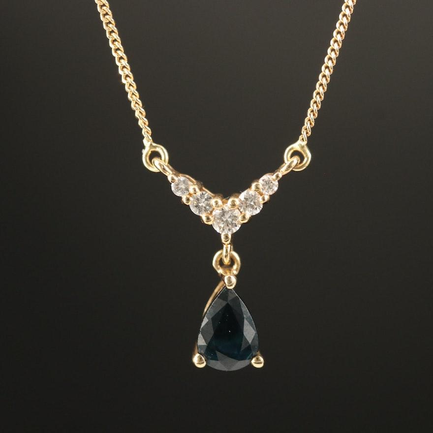 14K Sapphire and Diamond Stationary Pendant Necklace