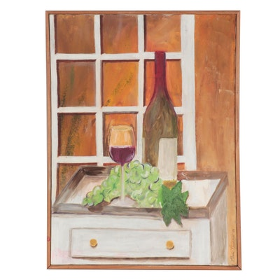 Elaine Neumann Still Life Oil Painting of Wine and Grapes, 2003