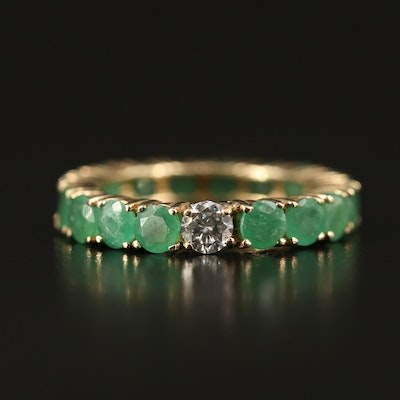 10K Diamond and Emerald Eternity Band