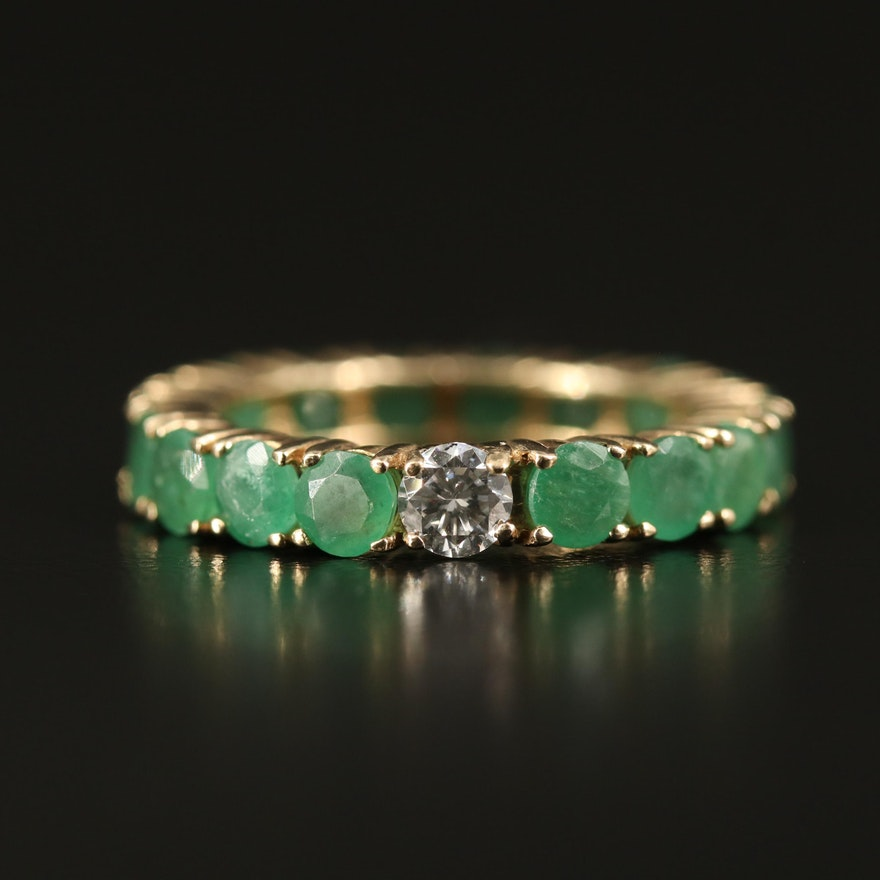 10K Diamond and Emerald Eternity Band