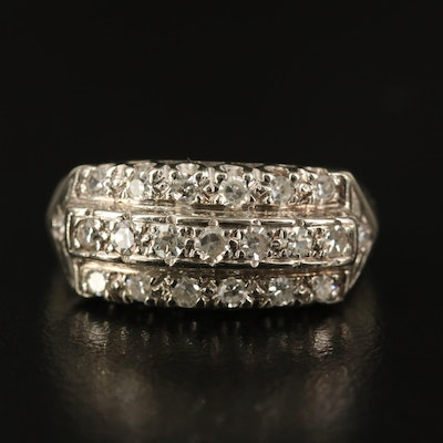 Vintage 14K Diamond Triple Row Ring