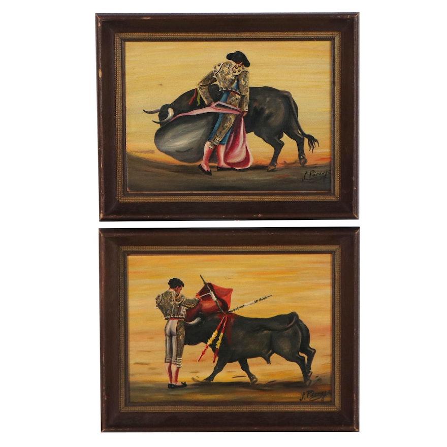 J. Pàrrage Acrylic Paintings of Matador, Late 20th Century