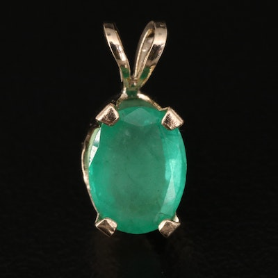 14K 1.24 CT Emerald Solitaire Pendant