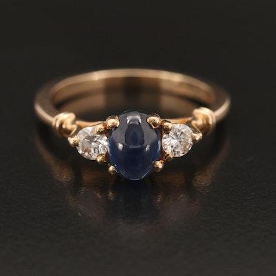14K 1.24 CT Sapphire and Diamond Three Stone Ring