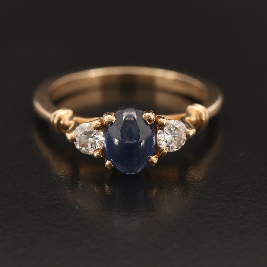 14K 1.24 CT Sapphire and Diamond Three Stone Ring