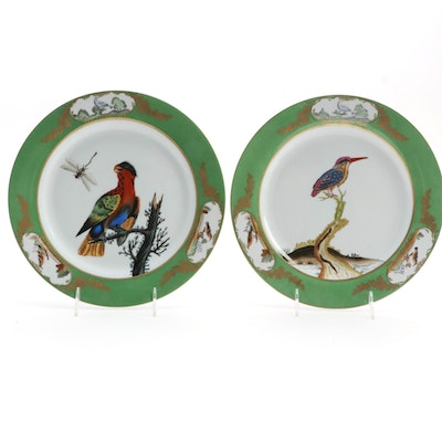 Chelsea House Porcelain Bird Plates with Green Trim, Pair