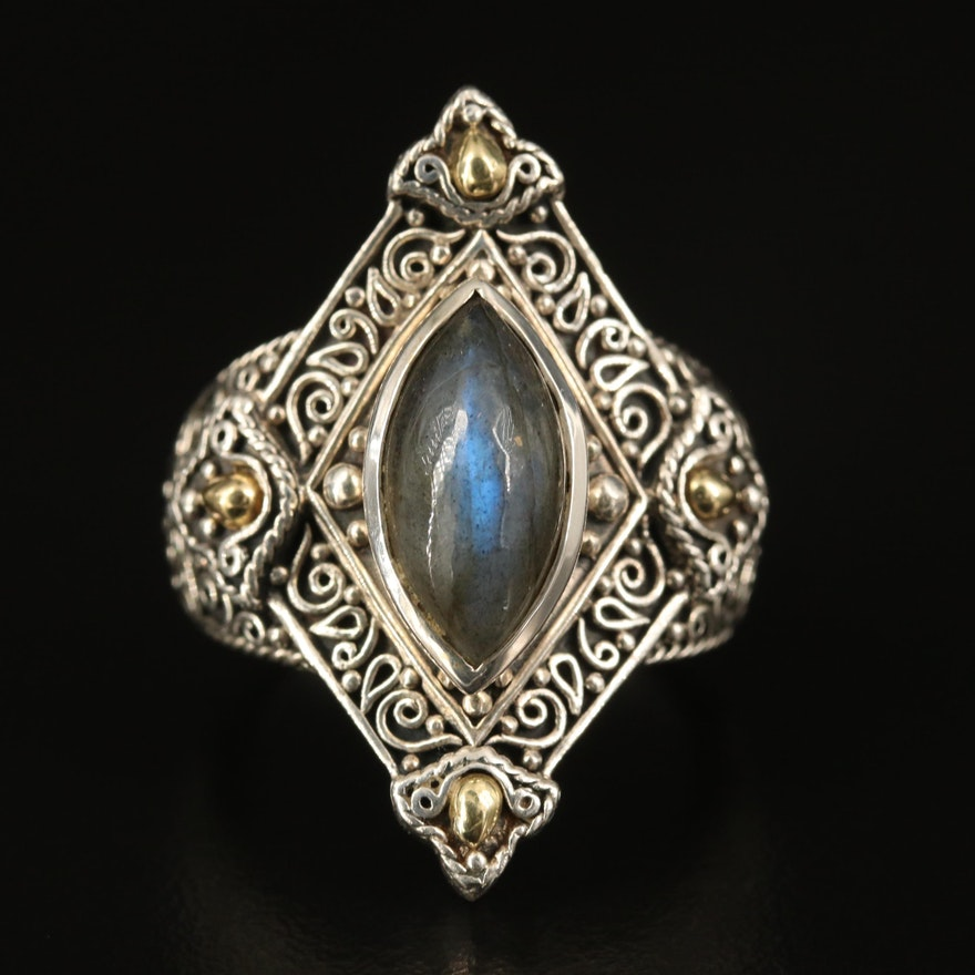 Sterling Labradorite Navette Filigree  Ring with 18K Accents