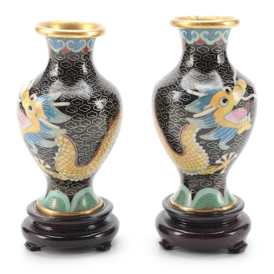 Pair of Chinese Cloisonné Dragon Vases with Carved Wood Bases