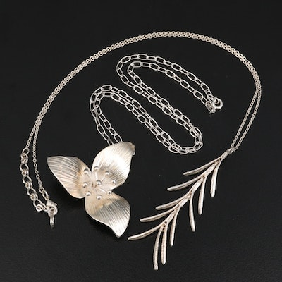 Trillium Flower Necklace and Rosemary Sprig Necklace Including Sterling