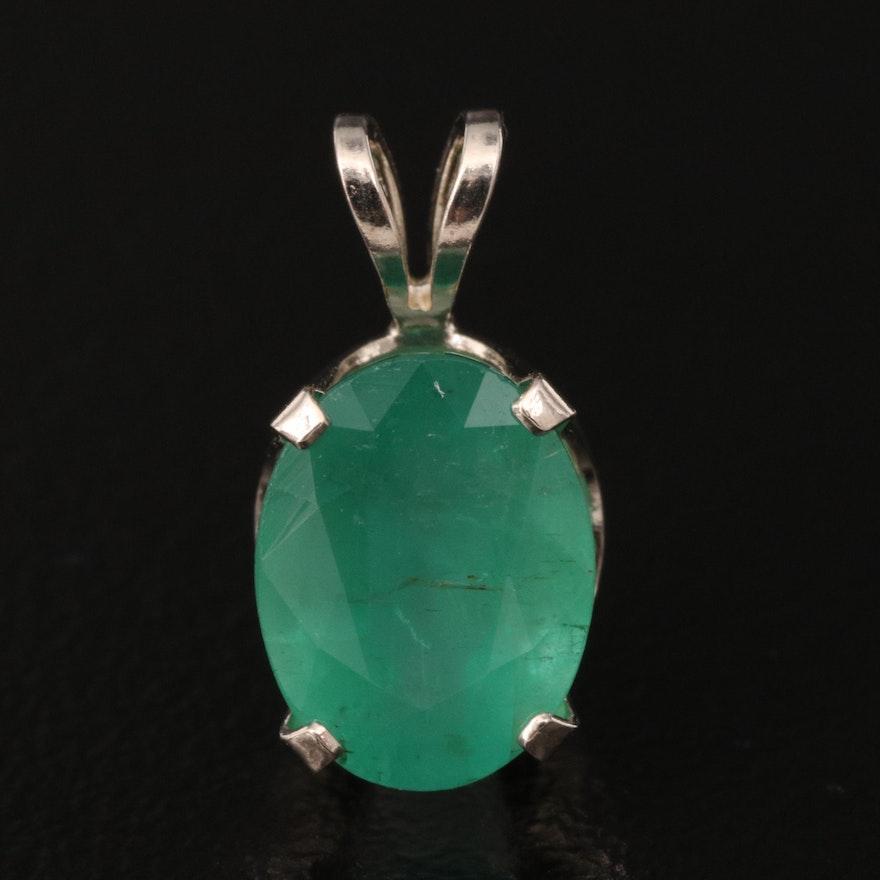 14K 1.75 CT Emerald Solitaire Pendant