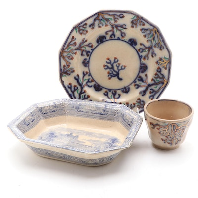 """English T.J. & J. Mayer """"Florentine"""" Platter and Gaudy Welsh Style Plate"""