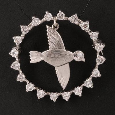 14K Diamond Circle Converter Brooch with 10K Bird Dangle
