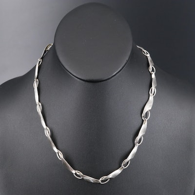 German Modernist Theodor Klotz 835 Silver Fluted Leaf Link Necklace