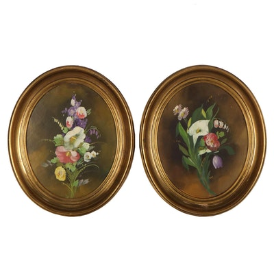 Vignette Oil Paintings of Flowers, Mid to Late 20th Century
