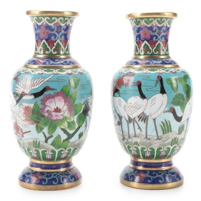 Chinese Cloisonné Vases with Cranes and Cherry Blossoms, Late 20th Century