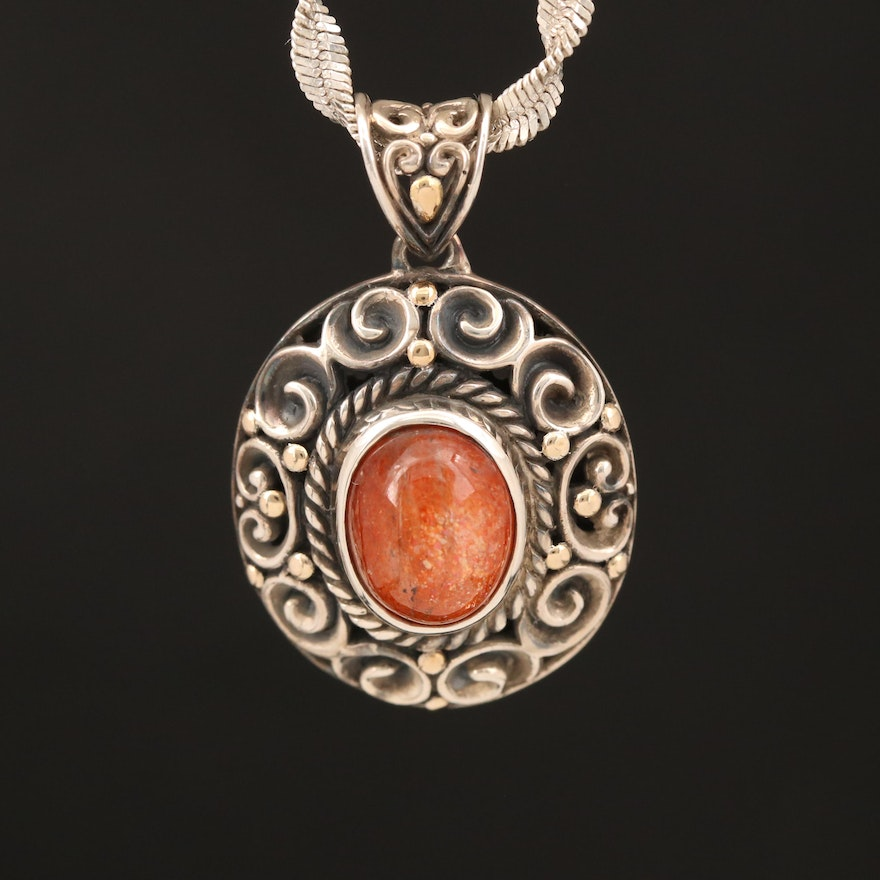 Robert Manse Sterling Sunstone Pendant with 18K Accents on Sterling Twist Chain