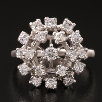 14K 1.00 CTW Diamond Domed Openwork Ring