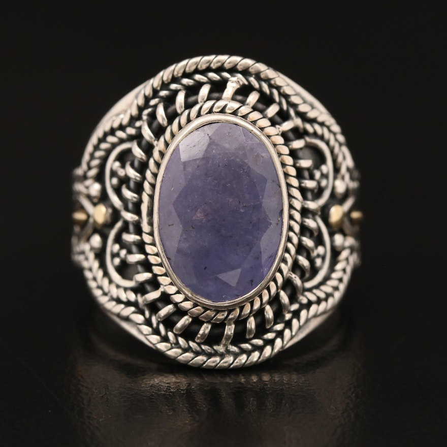 Robert Manse Sterling Tanzanite Ring with 18K Accents