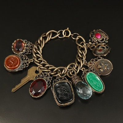 Assemblage Charm Bracelet with Cameos and Key Charms