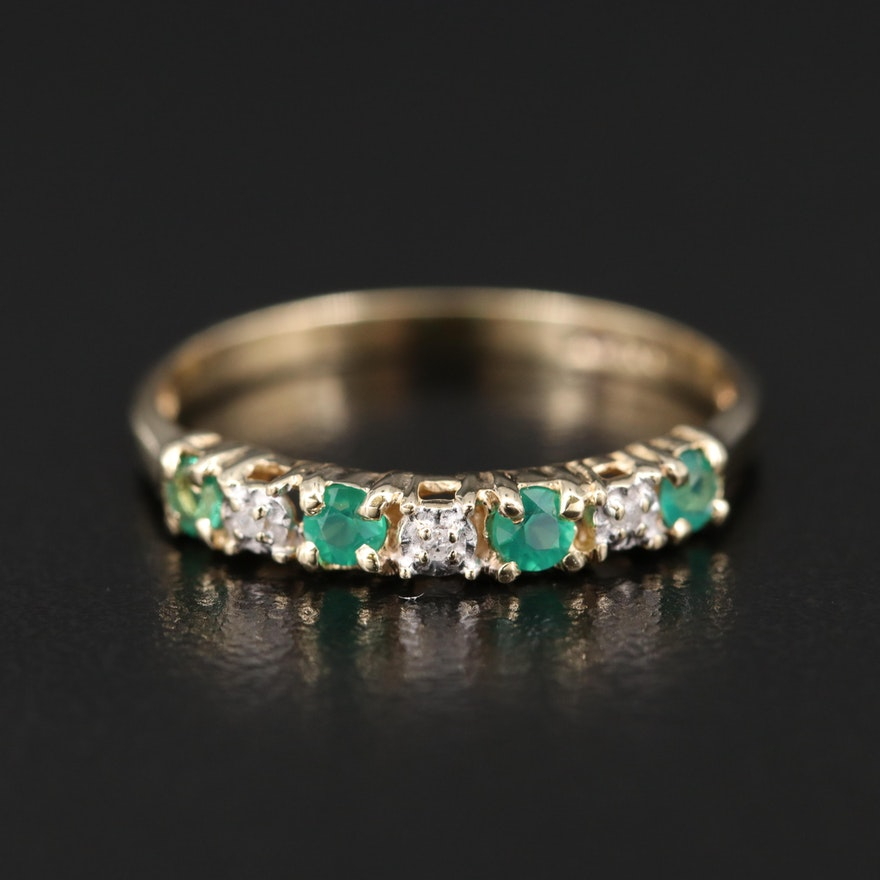 10K Chalcedony, Emerald and Diamond Band