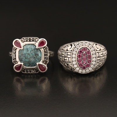 Sterling Rings Including Ruby, Diamond Faux Turquoise and Robert Manse