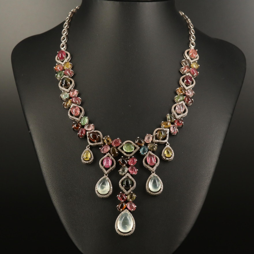 Sterling Tourmaline, Prehnite and Cubic Zirconia Necklace