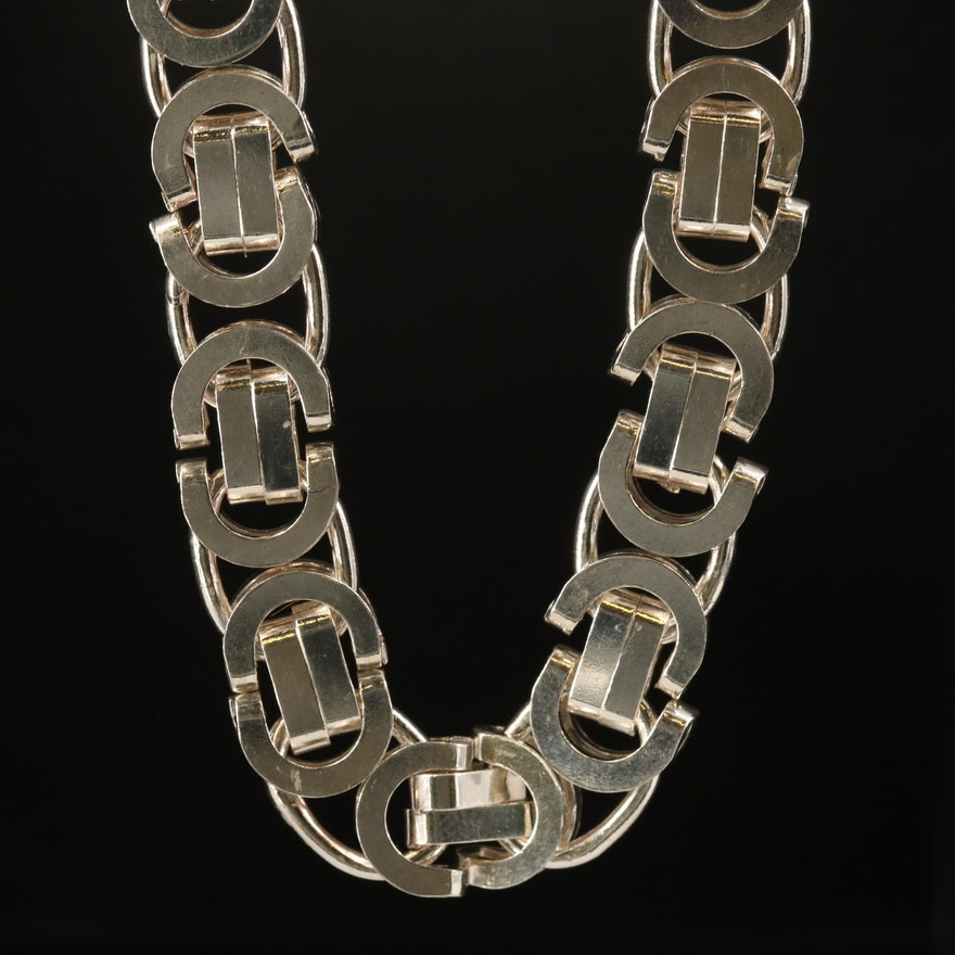 Italian Sterling Byzantine Chain Necklace