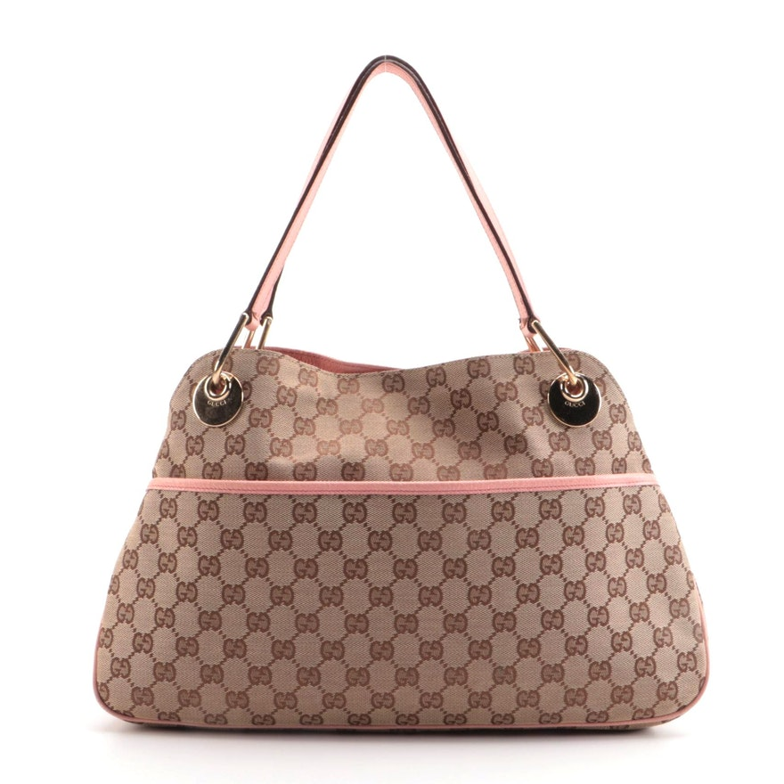 Gucci Eclipse Shoulder Bag in GG Canvas with Blush Pink Leather Trim