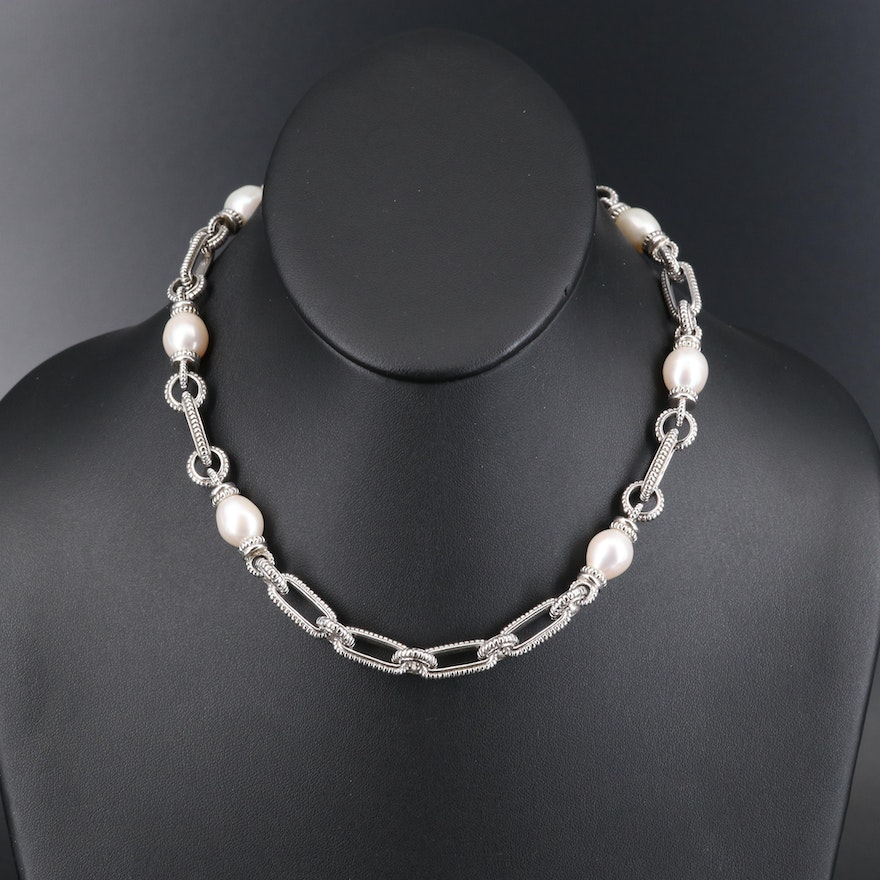 Judith Ripka Sterling Pearl Necklace with 18K and Diamond Accents