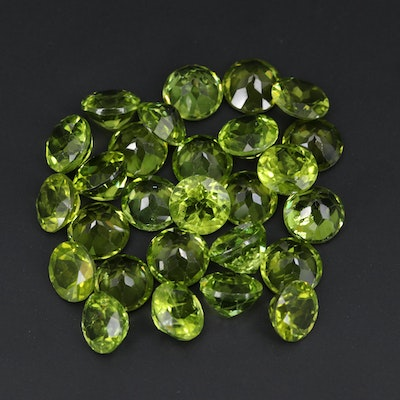 Loose 84.35 CTW Round Faceted Peridots