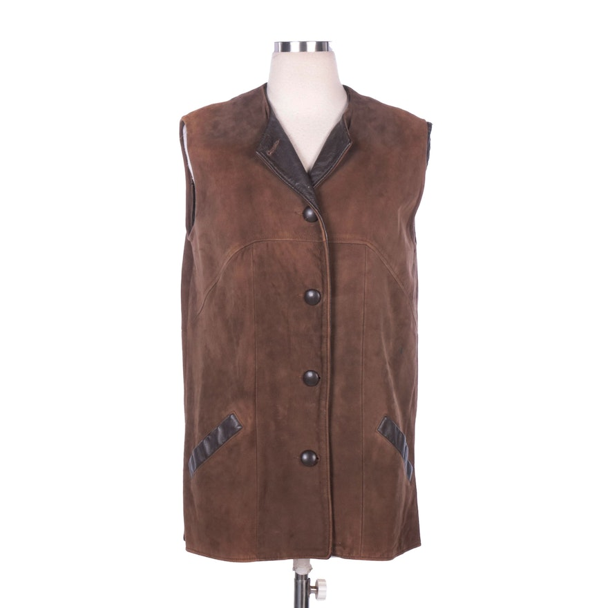 Brown Suede Vest with Leather Accents and Removable Faux Fur Lining