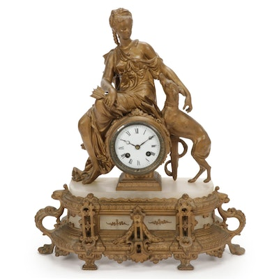 French Vincenti & Cie Gilt Bronze Goddess Diana Mantel Clock, Mid-Late 19th C.