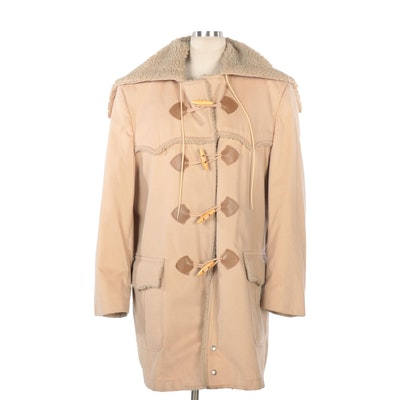 Faux Shearling Lined Coat with Toggle Closure and Hood Modification