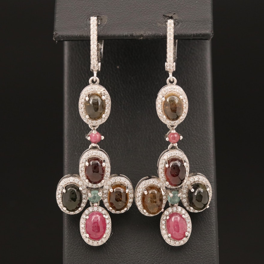Sterling Tourmaline and Cubic Zirconia Earrings