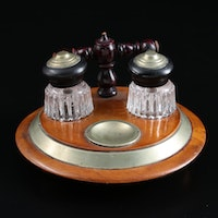 Victorian Brass and Wood Double Inkwell with Pressed Glass Pots, Antique