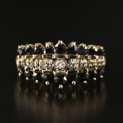 10K Sapphire and Diamond Step Ring