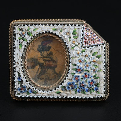 Floral Micro Mosaic Frame with Miniature Hand-Painted Photogravure Portrait