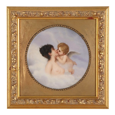 "Oil Painting on Porcelain after William-Adolphe Bouguereau ""Cupid Kissing Venus"""