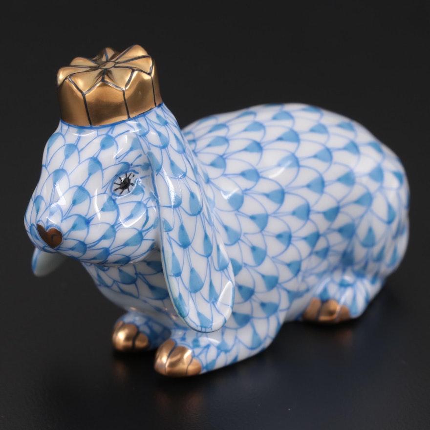 """Herend Blue Fishnet """"Royal Bunny"""" Porcelain Figurine"""