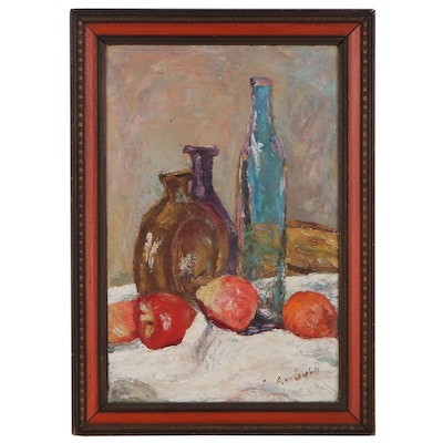 Ann Campbell Still Life Oil Painting with Bottles, Late 20th Century